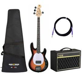 Kit com Contrabaixo Tagima, Amplificador Vox, Capa e Cabo