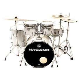 "Bateria Acústica Garage Rock Bumbo 22"", caixa 14"", Surdo 16"" e toms 10"" e 12"" Nagano - Grey Sparkle"