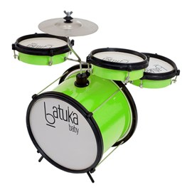 "Bateria Batuka Baby Verde Bumbo 10"" Caixa 6"" ABS Luen"