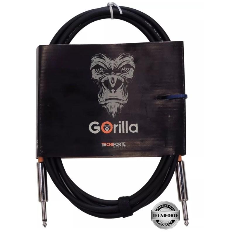 Cabo para Instrumentos P10 Reto-P10 Reto Gorilla GO10NI 3,05M Tecniforte