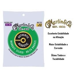 CORDA P/ VIOLAO ACO MA175S AUTHENTIC SILKED C LIGHT 80/20 Martin
