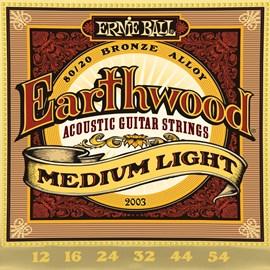 Corda para Violão de Aço Earthwood 2003 Tensão 12 54 Jogo de Cordas Ernie Ball