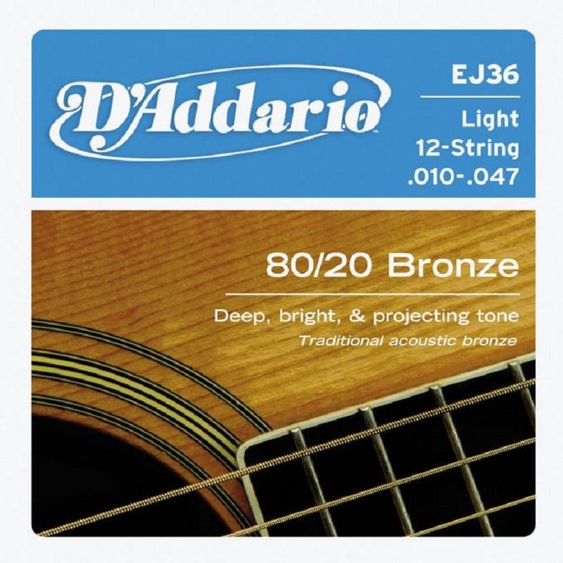 Corda para Violão de Aço EJ36 (12 Cordas) Bronze80/20 (.010) D'Addario