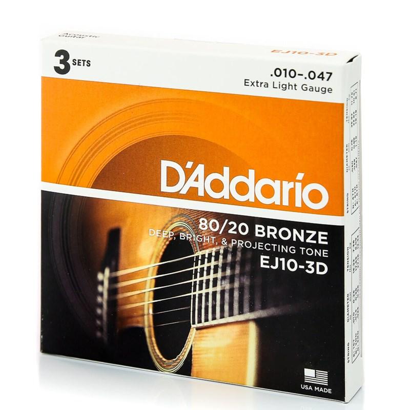 CORDA PARA VIOLAO EJ103D (0.010-0.047) PACK 3 JOGOS D'Addario