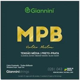 Encordoamento de Nylon para Violão GENWBS MPB Preto/prata Giannini