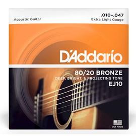 Encordoamento de Violão Aço EJ 10B 10 - 47 Jogo De Cordas D'Addario