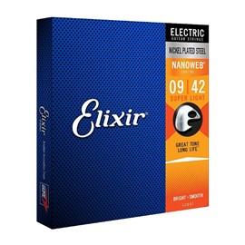 Encordoamento para Guitarra 009-042 Nanoweb Jogo de Cordas Elixir