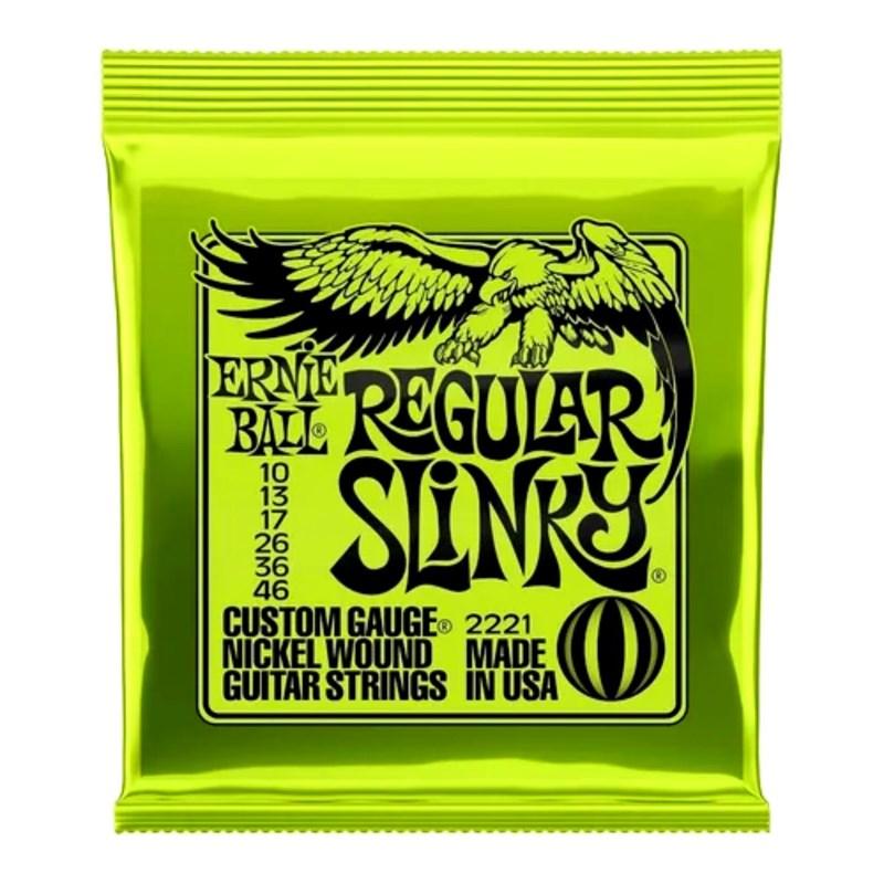 encordoamento para Guitarra 2221 Regular Slinky (0.010-0.046) Jogo de Cordas Ernie Ball