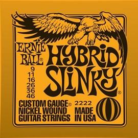 Encordoamento para Guitarra Ernie Ball 2222 Hibrid Slinky .009/.046 Jogo de Cordas Ernie Ball