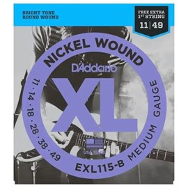 Encordoamento para Guitarra EXL115 B+PL011 - 0.011-0.049 Jogo de Cordas D'Addario