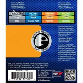 Encordoamento para Guitarra Nanoweb Medium  0.011-0.049 Jogo de Cordas Elixir