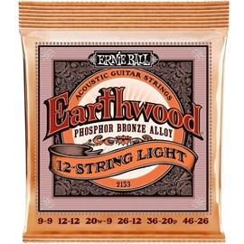 Encordoamento para Violão 12 Cordas 2153 0.009-0.046 Earthwood Phosphor Bronze Light Ernie Ball