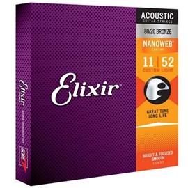 Encordoamento para Violão Aço  Bronze Nanoweb 011-052 Jogo de Cordas Elixir