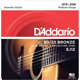Encordoamento para Violão de Aço EJ12 Bronze 80/20 - 0.013-0.056 Jgo de Cordas D'Addario
