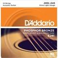 Encordoamento para Violão de Aço EJ41 12 Cordas 0.009-0.045 Jogo de Cordas D'Addario