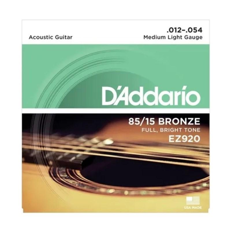 Encordoamento para Violão de Aço EZ920 Bronze 85/15 - 0.012-0.054 Jogo de Cordas D'Addario