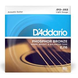 Encordoamento para Violão EJ16 Phosphor Bronze 0.012-0.053 Jogo de Cordas D'Addario