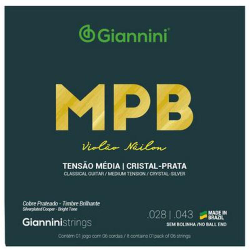 Encordoamento para Violão Genws para Violão Nylon Cristal Jogo de Cordas Giannini