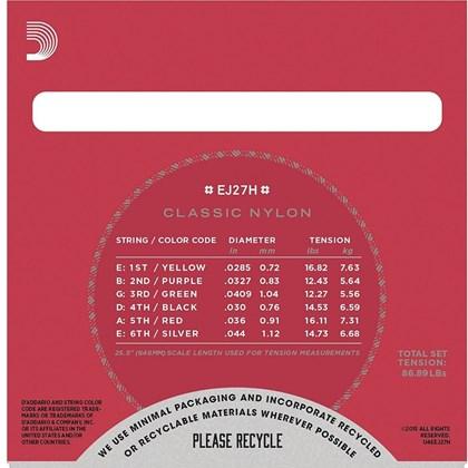 Encordoamento para Violão Nylon D'addario EJ-27N - 0.029-0.045 Jogo de Cordas de Nylon D'Addario