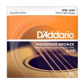 Encordoamento para Violão Phosphor Bronze EJ15 0.010-0.047 Jogo de Cordas D'Addario
