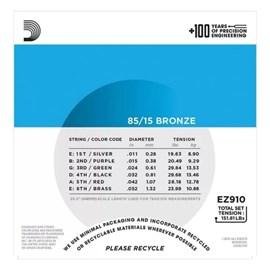 Encordoarmento para Violão Aço EZ910 B+PL011 - 0.011-0.052 Jogo De Cordas D'Addario