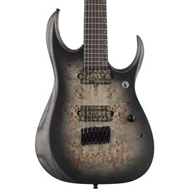 Guitarra 7 Cordas Iron Label com Captadores Bare Knuckle Aftermath RGD Series Axion Label 71ALPA Ibanez - Charcoal Burst Black Stained Flat (CKF)