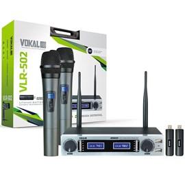 Microfone Duplo Bastao Bateria de Litium Vlr502 Vokal