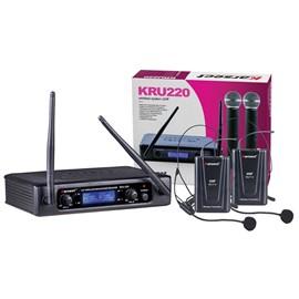 Microfone Sem Fio Duplo Headset Uhf Kru220 Karsect