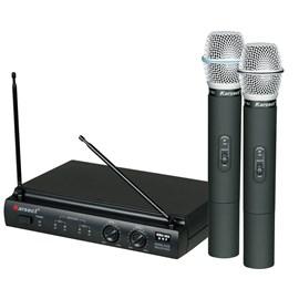 Microfone Sem Fio Karsect Duplo 2 Antenas Uhf Kru-302 Karsect