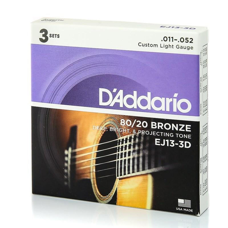 PACK COM 3 JOGOS CORDAS EJ13-3D(0.011-0.052) BRONZE D'Addario