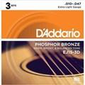 Pack com 3 Jogos de Cordas para Violão de Aço EJ-15 (.010) D'addario
