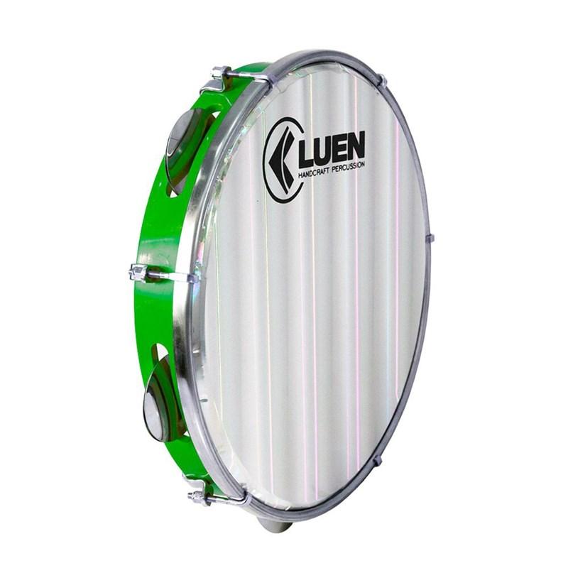 "Pandeiro 10"" ABS Verde Platinelas INOX Pele Holográfica Luen"