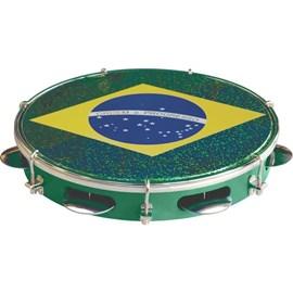 "Pandeiro 10"" Stand Injetado Bandeira do Brasil Tp350ve Torelli"