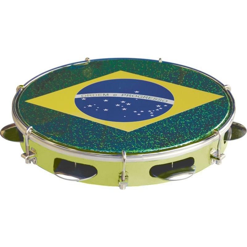 "Pandeiro 10"" Standart Injetado Bandeira do Brasil Tp350am Torelli"