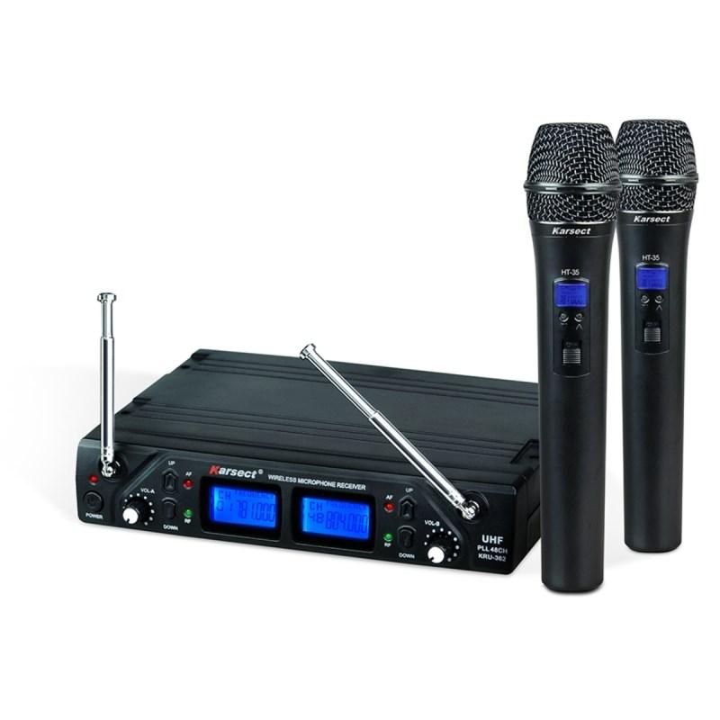 Sistema Sem Fio KRU362 com Microfone Duplo Digital UHF Karsect