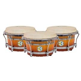 """Trio de Conga Compacta 10½"""", 11½"""" e 12½"""" Honeyburst Eletroacústico Luen"""
